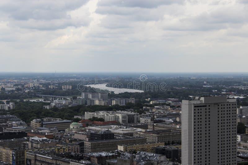 Warschau von oben lizenzfreies stockbild