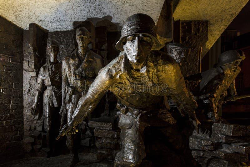 Warshau, Polen, Europa, December 2018, de Opstandsgedenkteken van Warshau in Krasinski-Vierkant royalty-vrije stock afbeeldingen