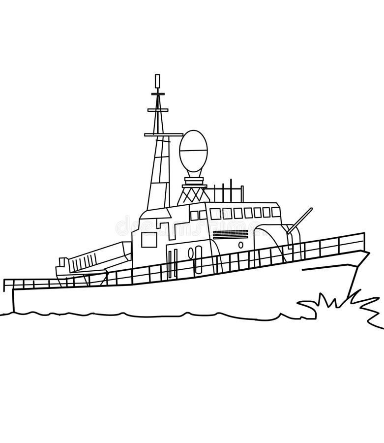 Warship coloring page. Hand drawn warship destroyer frigate coloring page for kids stock illustration