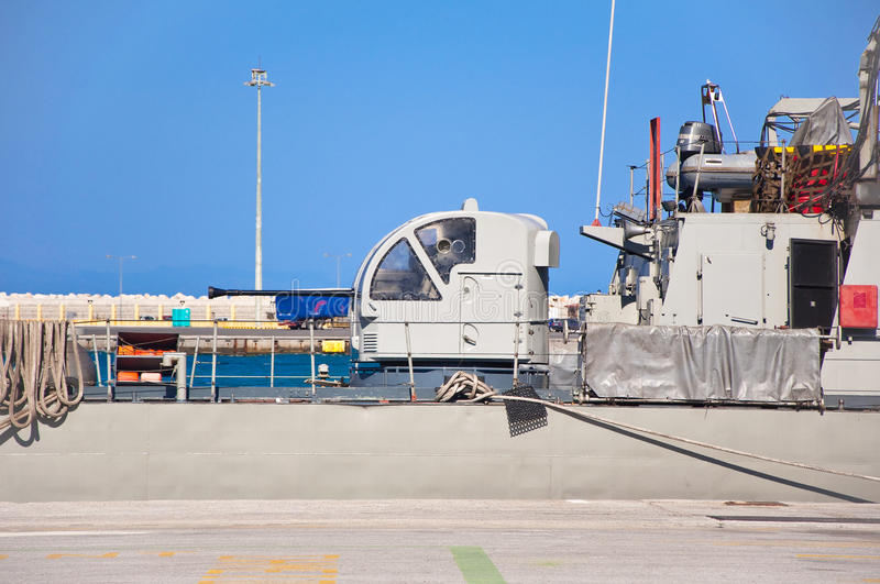 Warship In A Harbor Of Rhodes, Greece. Royalty Free Stock Photos
