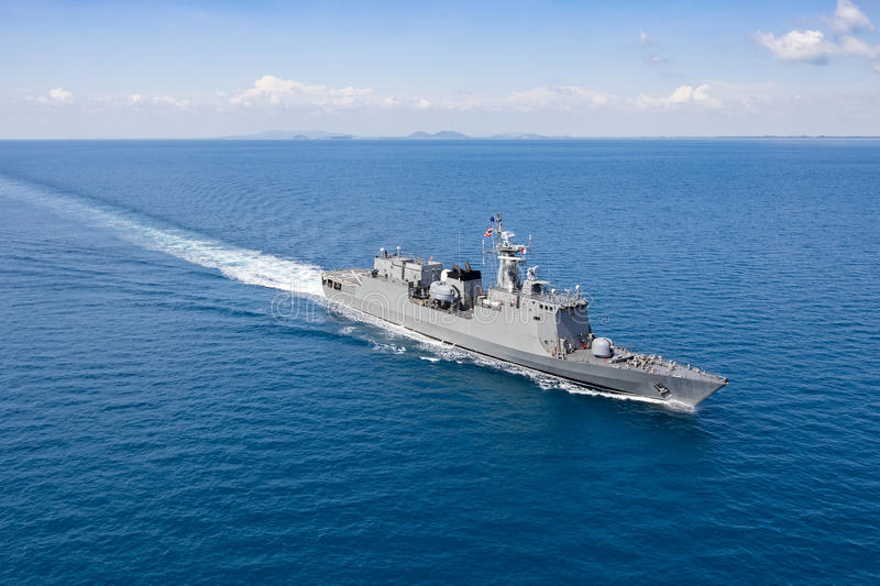 Warship helicopter view. Grey modern warship helicopter view stock photos