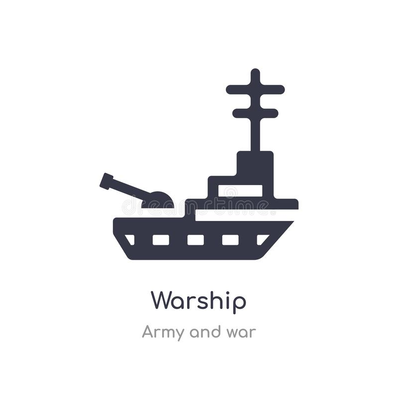 warship icon. isolated warship icon vector illustration from army and war collection. editable sing symbol can be use for web site royalty free illustration