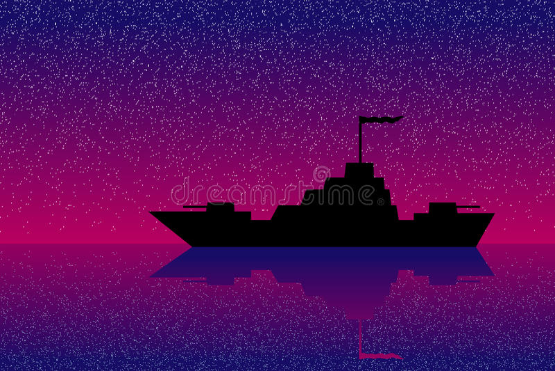 Warship At Night Stock Images