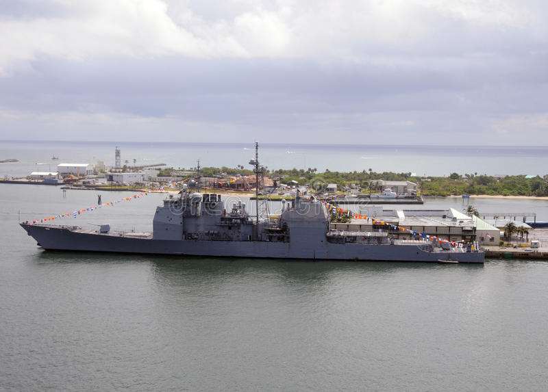 Warship in port royalty free stock photography