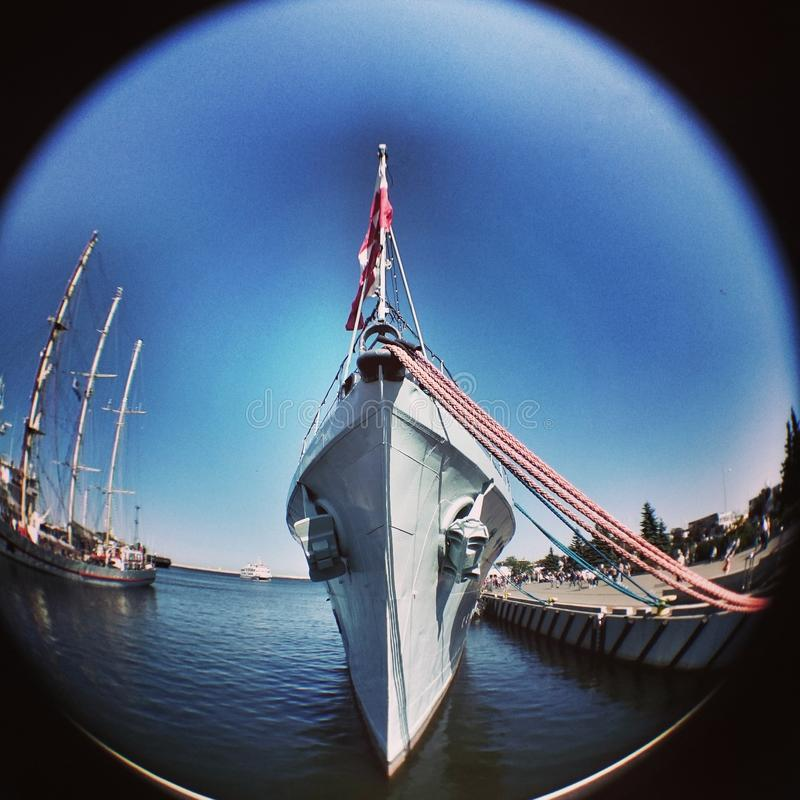 warship Sguardo artistico nella vista del fisheye immagini stock