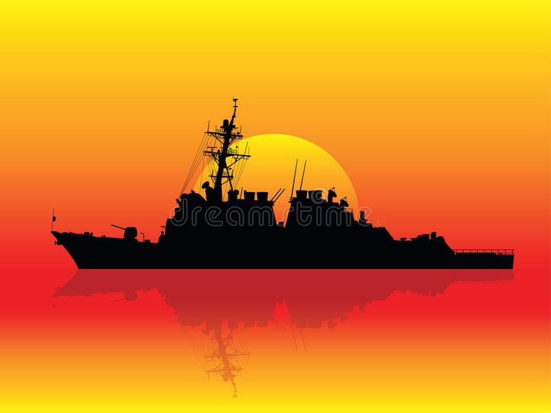 Download Warship at sunset stock vector. Image of battleship, black - 15797287