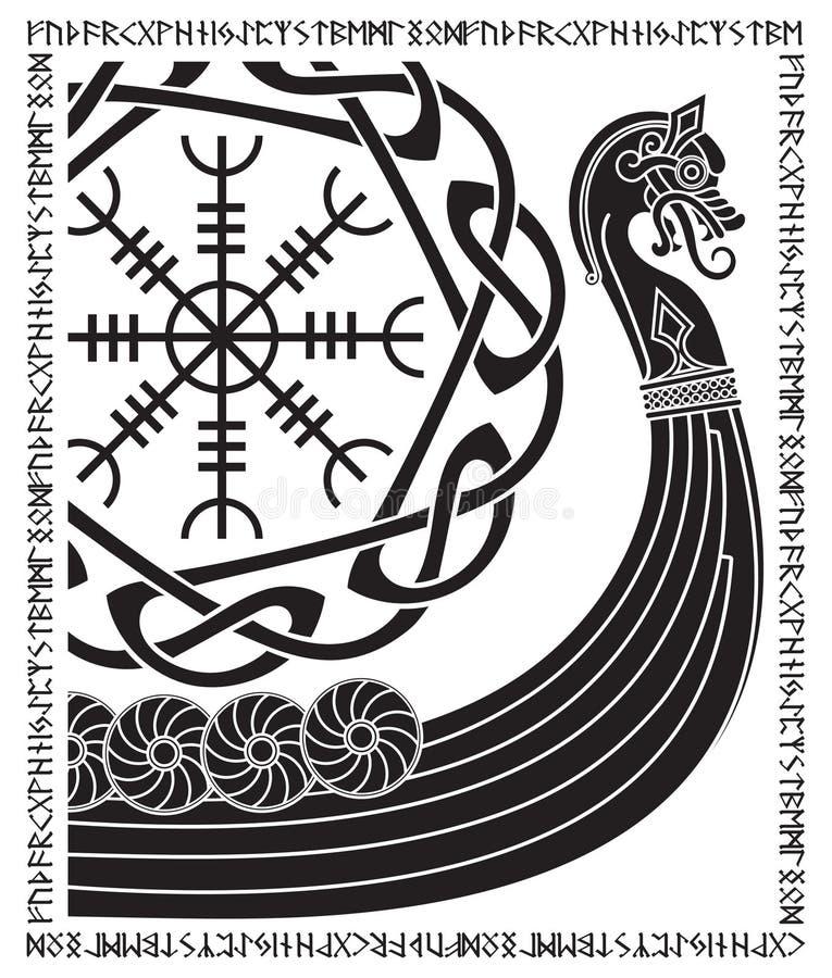Warship of the Vikings. Drakkar, ancient scandinavian pattern and norse runes. Isolated on white, vector illustration stock illustration