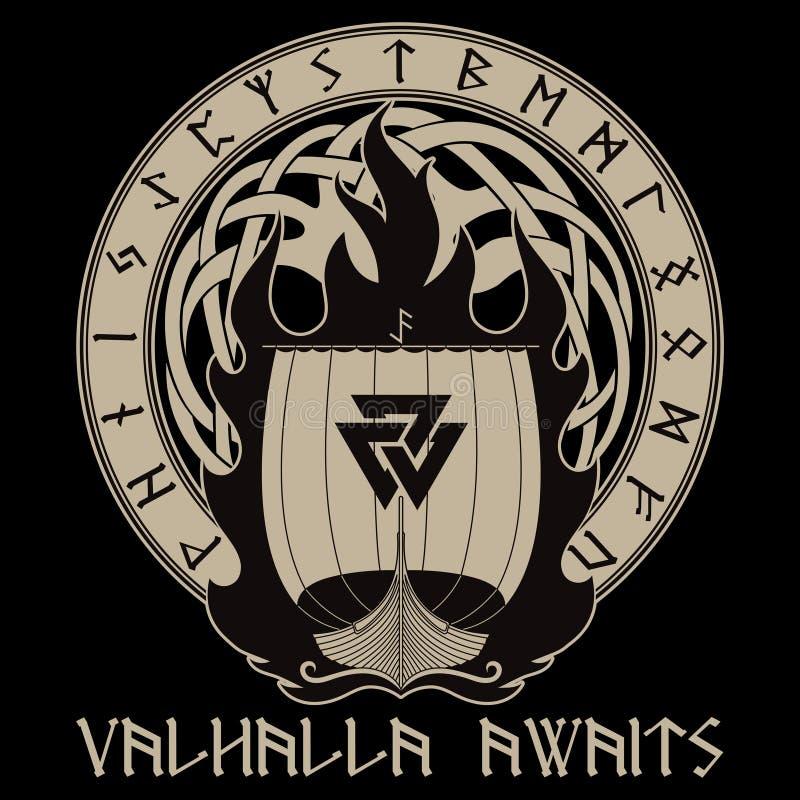 Warship of the Vikings. Drakkar on fire and norse runes. Isolated on black, vector illustration vector illustration