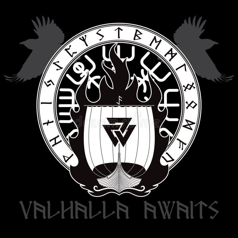Warship of the Vikings. Drakkar on fire and norse runes. On black, vector illustration stock illustration