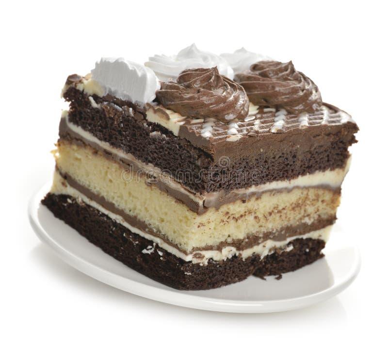 Warstwa czekoladowy Tort fotografia royalty free