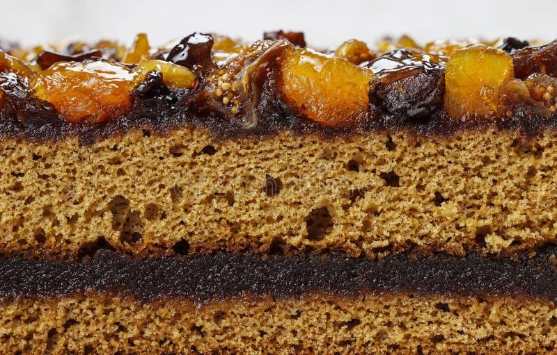 Warstwa tort dekorował z wysuszonymi owoc i miodem fotografia stock