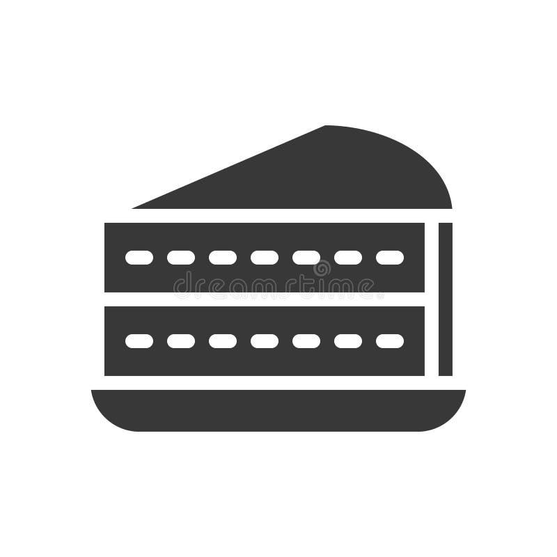 Warstwa tort, piekarnia i ciasto set, glif ikona royalty ilustracja