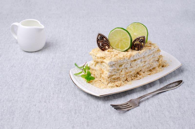 Warstwa tort Z Bia?? ?mietank? zdjęcia royalty free