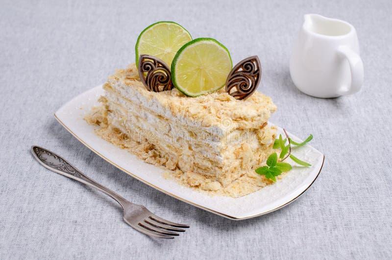 Warstwa tort Z Bia?? ?mietank? obraz royalty free