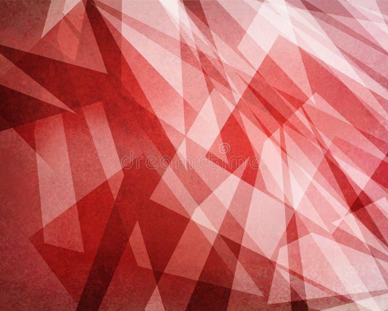 Warstwy biali abstrakcjonistyczni kształty na czerwonym tle, trójboków lampasach i liniach w geometrycznej deseniowej sztuce wspó ilustracja wektor
