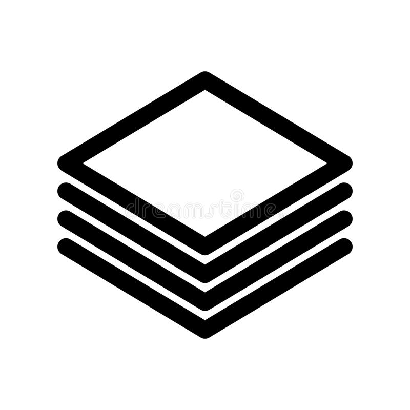 Warstwy lub sterta papier ikona Konturu nowożytnego projekta element Prosty czarny płaski wektoru znak z zaokrąglonymi kątami royalty ilustracja