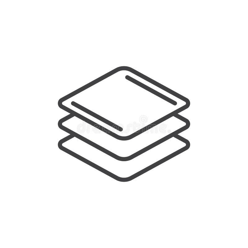 Warstwy wykładają ikonę, konturu wektoru znak, liniowy stylowy piktogram odizolowywający na bielu ilustracji