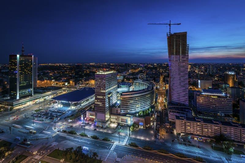 Warszawa noc panorama fotografia stock