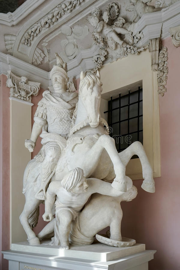 WARSZAWA POLAND/EUROPE - SEPTEMBER 17: Staty av Januari III Sobiesk royaltyfri foto