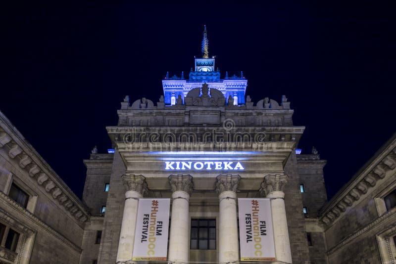 Warszawa Polen, Europa, December 2018, slott av kultur- och vetenskapsbion arkivfoton