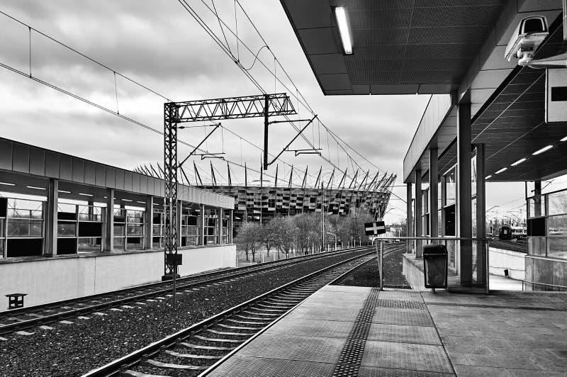 Warszawa Polska, Kwiecień, - 09, 2016: Warszawa Stadion stacja kolejowa, lokalizować w okręgu Praga Poludnie fotografia stock