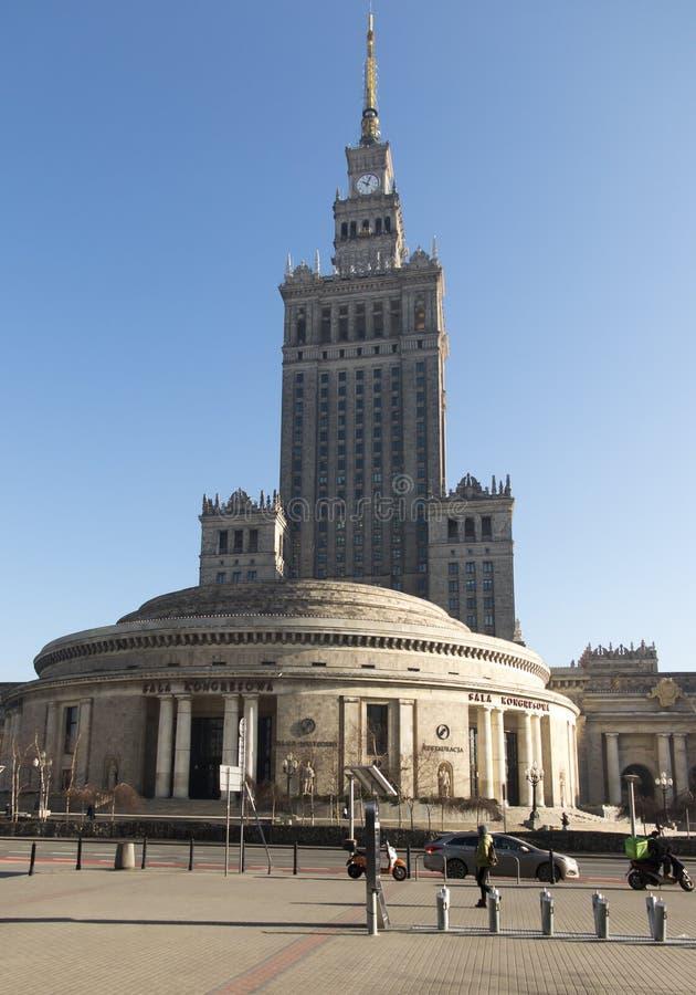 Warszawa, Polska, 19 2019 Luty: Pałac kultura i nauka rozpoznawalny budynek w Warszawa zdjęcia stock