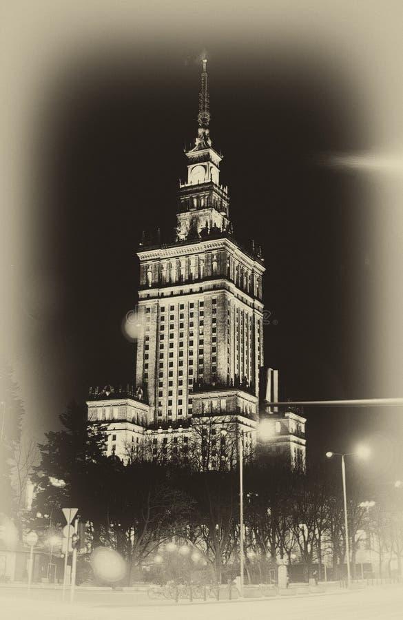 Warszawa Polska, Marzec, - 28, 2016: Pałac kultura i nauka Połysk: Palac Kultura ja Nauka, także skracający PKiN zdjęcie stock