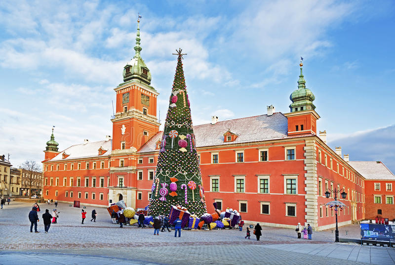 Warszawa slottfyrkant arkivbild