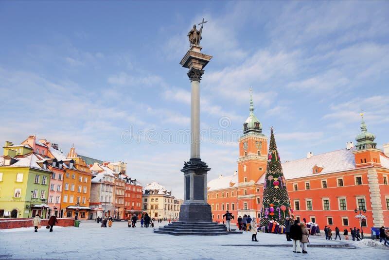 Warszawa slottfyrkant på jul royaltyfri foto