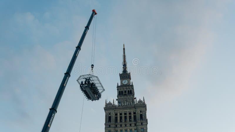 Warszawacentrum med slotten av kulturvetenskap royaltyfri foto