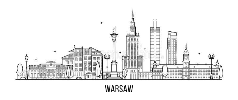 Warszawscy linii horyzontu Polska miasta budynki wektorowi royalty ilustracja