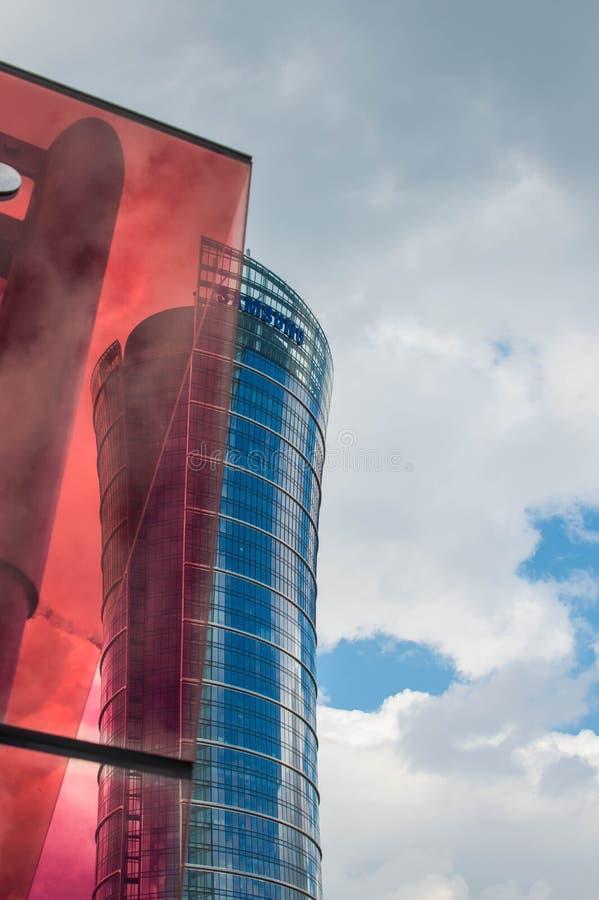 Warszawski iglica budynek Kwatery główne Samsung Polska obraz royalty free