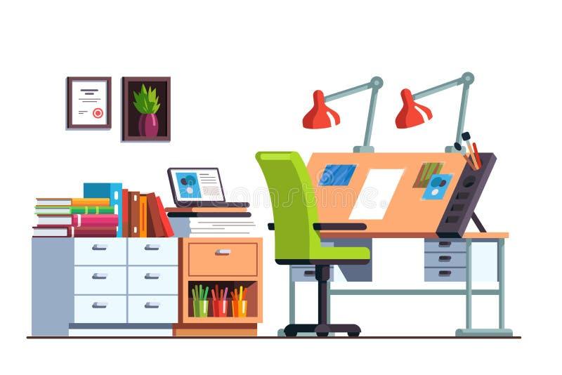 Warsztat lub inżyniera biurowy pokój z rysunkowym biurkiem royalty ilustracja