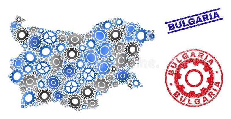 Warsztatowego składu Bułgaria Grunge i mapy Wektorowi znaczki royalty ilustracja