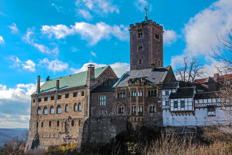 Wartburg Castle. Eisenach, Thuringia, Germany – February 14, 2014 The Wartburg is a melting pot of several different eras, making it an excellent royalty free stock photo