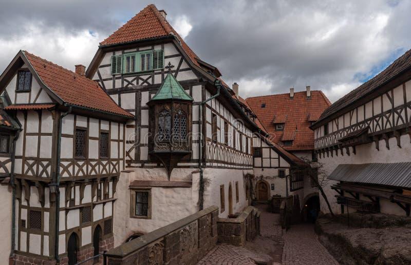 Wartburg-Kasteelbinnenplaats van Martin Luther stock foto's