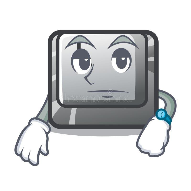 Warteknopf L auf einer Spielkarikatur stock abbildung