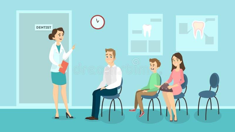 Warteraum an der Zahnheilkunde lizenzfreie abbildung