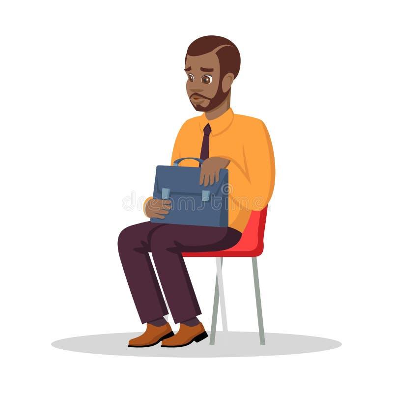 Wartesitzung des afroen-amerikanisch Mannes mit Arzt, Berater oder Vorstellungsgespräch ein Bankkonto habend lizenzfreie abbildung