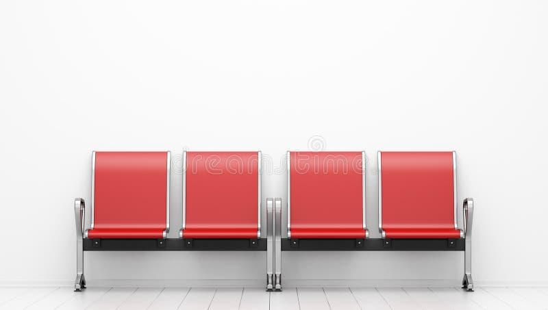 Wartestühle vor weißer Wand stock abbildung