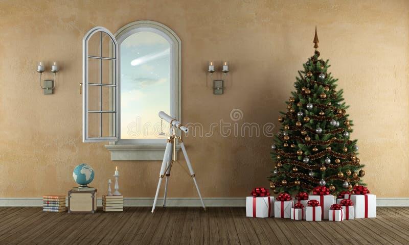 Warteweihnachten in einem alten Raum vektor abbildung