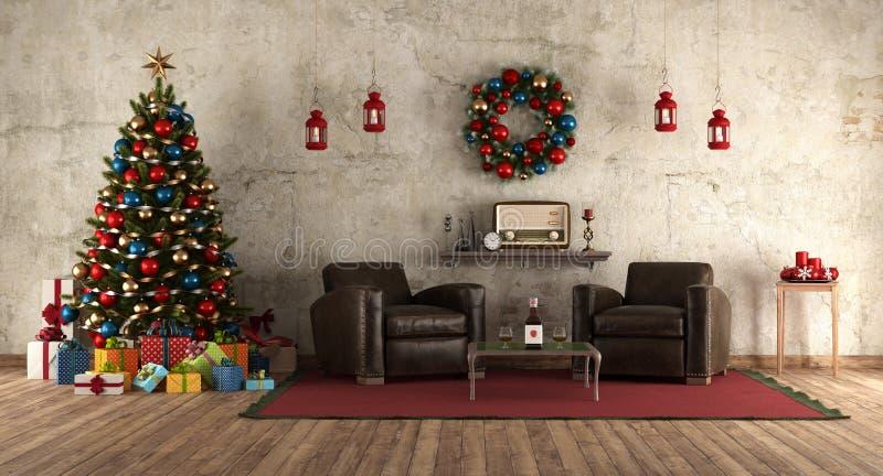Warteweihnachten in einem Raum im Retrostil lizenzfreie abbildung