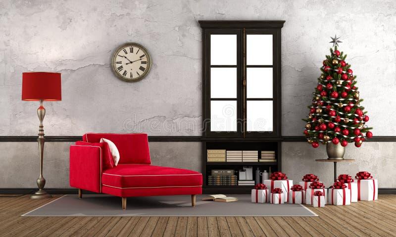 Warteweihnachten im Retro- Raum stock abbildung