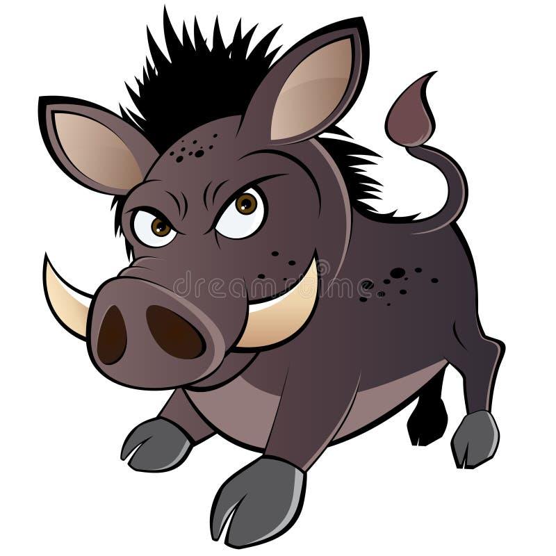 Warthog fâché de dessin animé illustration libre de droits