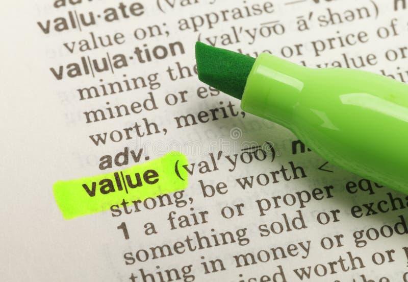 Wartości definicja obraz stock