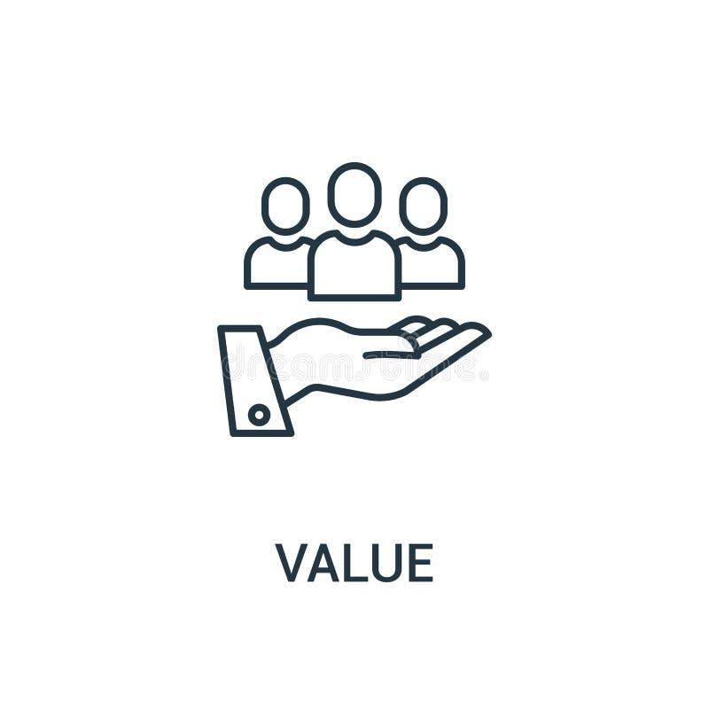 wartości ikony wektor od reklam inkasowych Cienka kreskowa wartość konturu ikony wektoru ilustracja Liniowy symbol dla używa na s ilustracja wektor