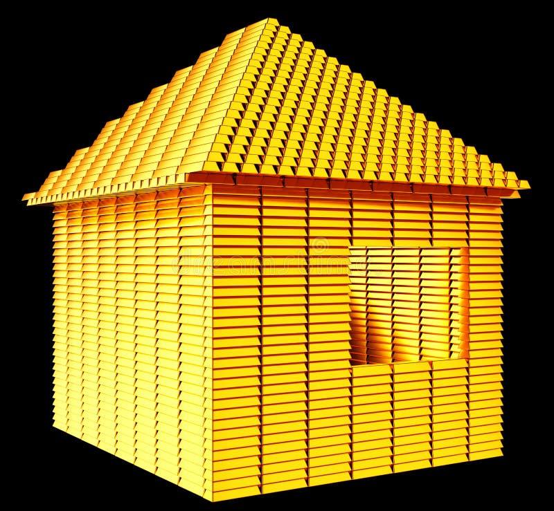 Wartościowa nieruchomość: złociści bary domu kształta obraz royalty free