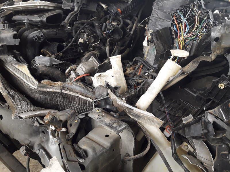 Warunek samochodowy silnik który powodował wypadek zdjęcia royalty free