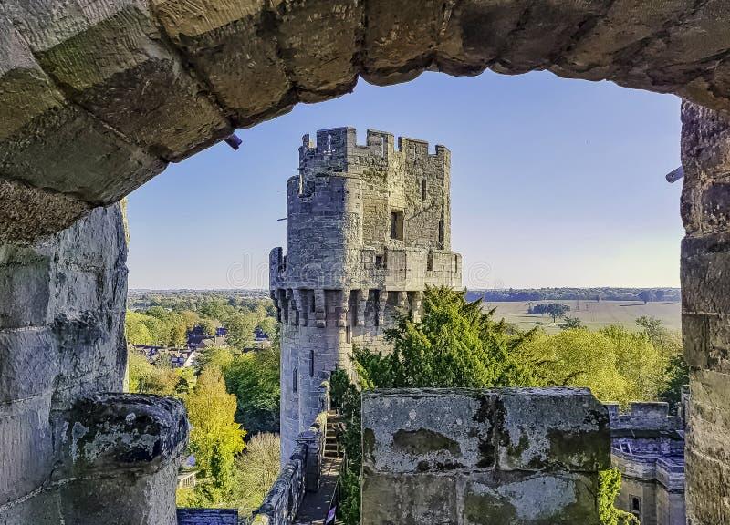 Warwick Castle - Caesar`s Tower in Warwick in Warwick, Warwickshire, UK. Warwick Castle - Caesar`s Tower in Warwick in Warwick, Warwickshire, United Kingdom stock photo