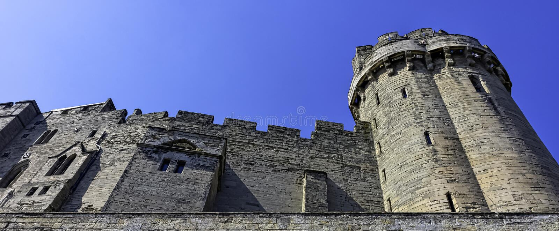 Warwick Castle - Caesar`s Tower in Warwick in Warwick, Warwickshire, UK. Warwick Castle - Caesar`s Tower in Warwick in Warwick, Warwickshire, United Kingdom stock image